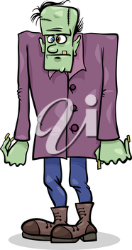 Cartoon Illustration of Spooky Halloween Frankenstein Monster