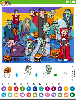 Cartoon illustration of educational mathematical counting and addition game for children with scary Halloween characters