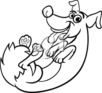Black and White Cartoon Illustration of Cute Playful Dog for Coloring Book