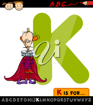 Cartoon Illustration of Capital Letter K from Alphabet with King for Children Education