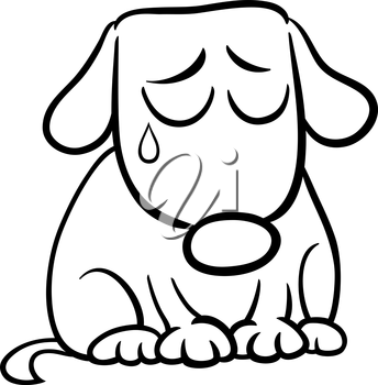 Black and White Cartoon Illustration of Cute Sad Dog or Puppy for Coloring Book