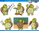 Cartoon Illustration of Turtle Animal Character School Student Set