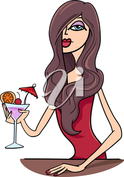 Cartoon Illustration of Beautiful Sexy Woman in Red Dress with Drink in the Bar