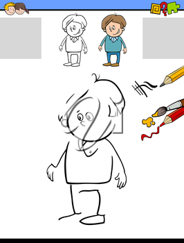 Cartoon Illustration of Drawing and Coloring Educational Activity Task for Preschool Children with Kid Boy Character