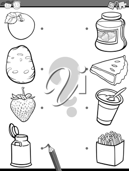 Black and White Cartoon Illustration of Education Element Matching Task for Preschool Children with Food Ingredients Coloring Book