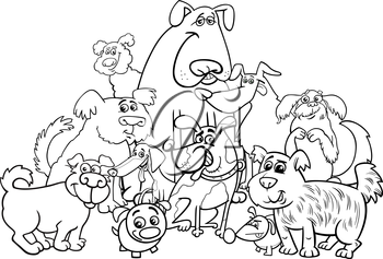 Black and White Cartoon Illustration of Dogs Animal Characters Group Coloring Book