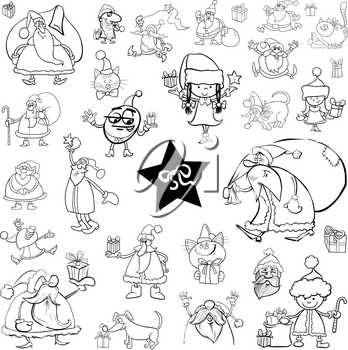 Black and White Cartoon Illustration of Christmas Characters and Themes Clip Arts Set