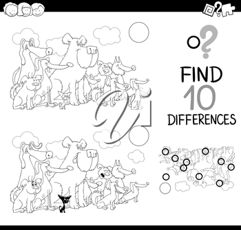 Black and White Cartoon Illustration of Finding Details Educational Activity for Children with Dogs Animal Characters Coloring Book