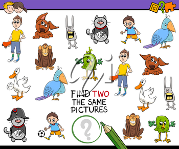 Cartoon Illustration of Find Two Identical Pictures Educational Activity for Children