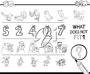 Black and White Cartoon Illustration of Finding Picture that does not Fit in a Row Educational Game Coloring Book