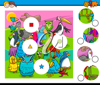 Cartoon Illustration of Educational Match the Pieces Activity Game for Children with Birds Animal Characters