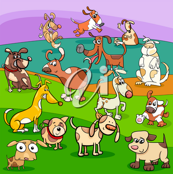 Cartoon Illustration of Spotted Dogs and Puppies Animal Characters Group