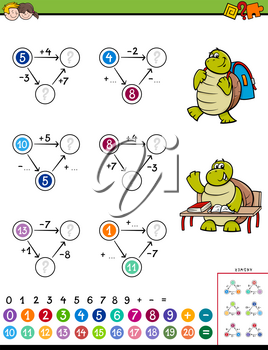 Cartoon Illustration of Educational Mathematical Calculation Puzzle Game for Children