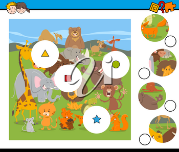 Cartoon Illustration of Educational Match the Elements Game for Children with Wild Animal Characters Group