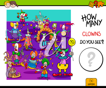 Cartoon Illustration of Educational Counting Game for Children with Clowns Circus Characters