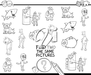 Black and White Cartoon Illustration of Finding Two Identical Pictures Educational Activity Game for Children with Funny Characters Coloring Book