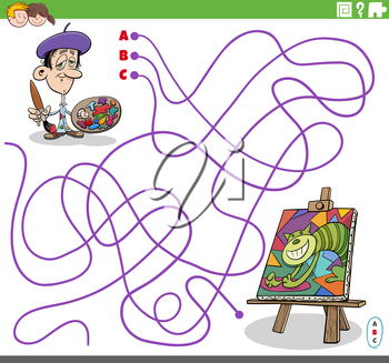 Cartoon illustration of lines maze puzzle game with artist painter character and his painting on easel