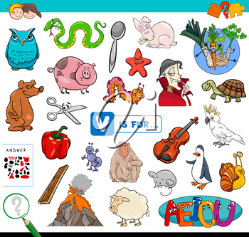 Cartoon Illustration of Finding Picture Starting with Letter V Educational Game Workbook for Children