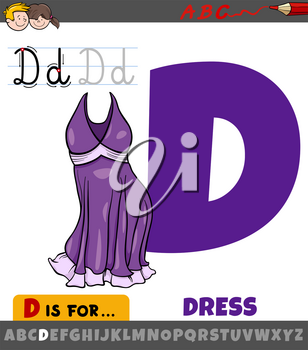 Educational cartoon illustration of letter D from alphabet with dress object