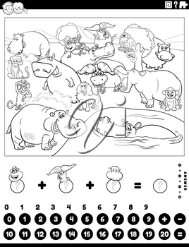 Black and white cartoon illustration of educational mathematical counting and addition game for children with hippopotamuses and buffalos and monkeys coloring book page