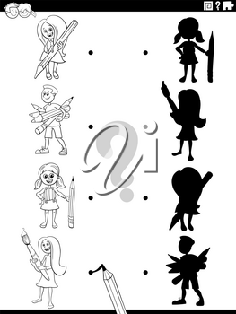 Black and white cartoon illustration of match the right shadows with pictures educational game with school children pupils characters coloring book page