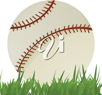 Royalty Free Clipart Image of a Baseball in Grass