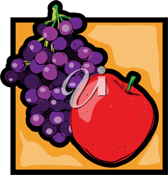 Royalty Free Clipart Image of an Apple and Grapes