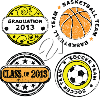 Royalty Free Clipart Image of School Stamps