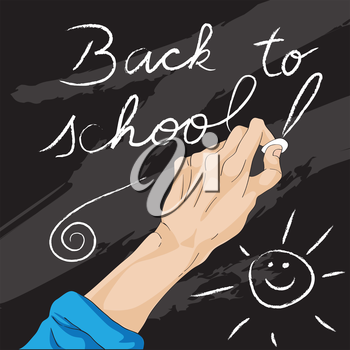 Hand drawn illustration of a human hand writing on the balckboard with chalk, back to school card
