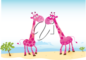 Royalty Free Clipart Image of Two Pink Giraffes