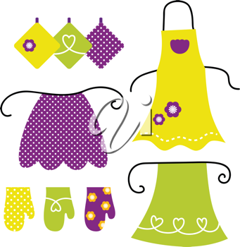 Royalty Free Clipart Image of Aprons and Oven Mitts