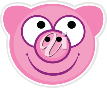 Royalty Free Clipart Image of Pig Face