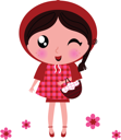 Royalty Free Clipart Image of a Girl With a Basket