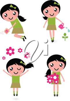 Royalty Free Clipart Image of a Girl Doing Gardening Tasks
