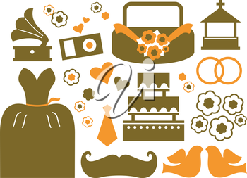 Royalty Free Clipart Image of Wedding Elements