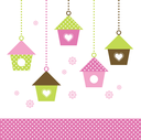 Multicolored love Birdhouses for your spring design. Vector