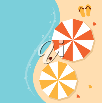 Summer beach background with sea and sand. Vector