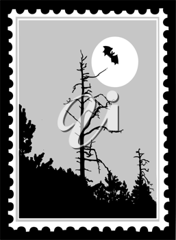 Royalty Free Clipart Image of a Bat Postage Stamp