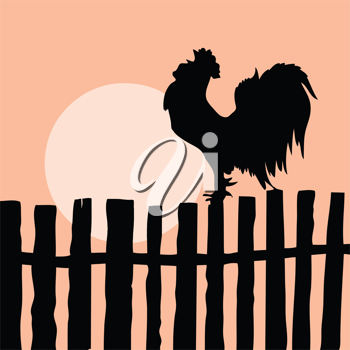 Royalty Free Clipart Image of a Rooster on a Fence