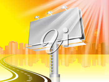 Royalty Free Clipart Image of Billboard at a Road With a City in the Background