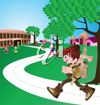 Royalty Free Clipart Image of a Boy on His Way to School