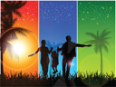 Royalty Free Clipart Image of a Silhouetted Family on a Tri-Colour Background