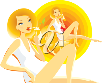 Royalty Free Clipart Image of a Girl Sipping Orange Juice