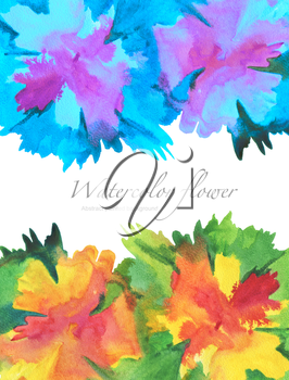 Acrylic and watercolor flower painted background.