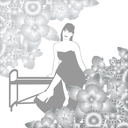 Abstract image of a young woman sitting on a bench surrounded by flowers. The illustration on a white background.