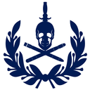 Abstract military badge with a skull and torpedoes. Illustration on white background.