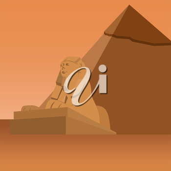 Sculpture Sphinx on the background of the Egyptian pyramids. The illustration on a white background.