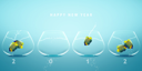 Royalty Free Photo of a 2012 Calendar Decorated with Fishbowls Containing Angelfish