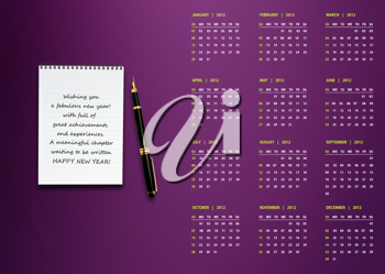 Royalty Free Photo of a 2012 Calender with a Pen, and Spiral Notepad