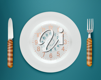 Lunch time concept, clock in plate, knife and fork